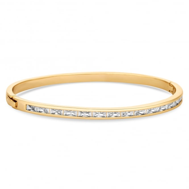 Gold Plated Crystal Baguette Bangle