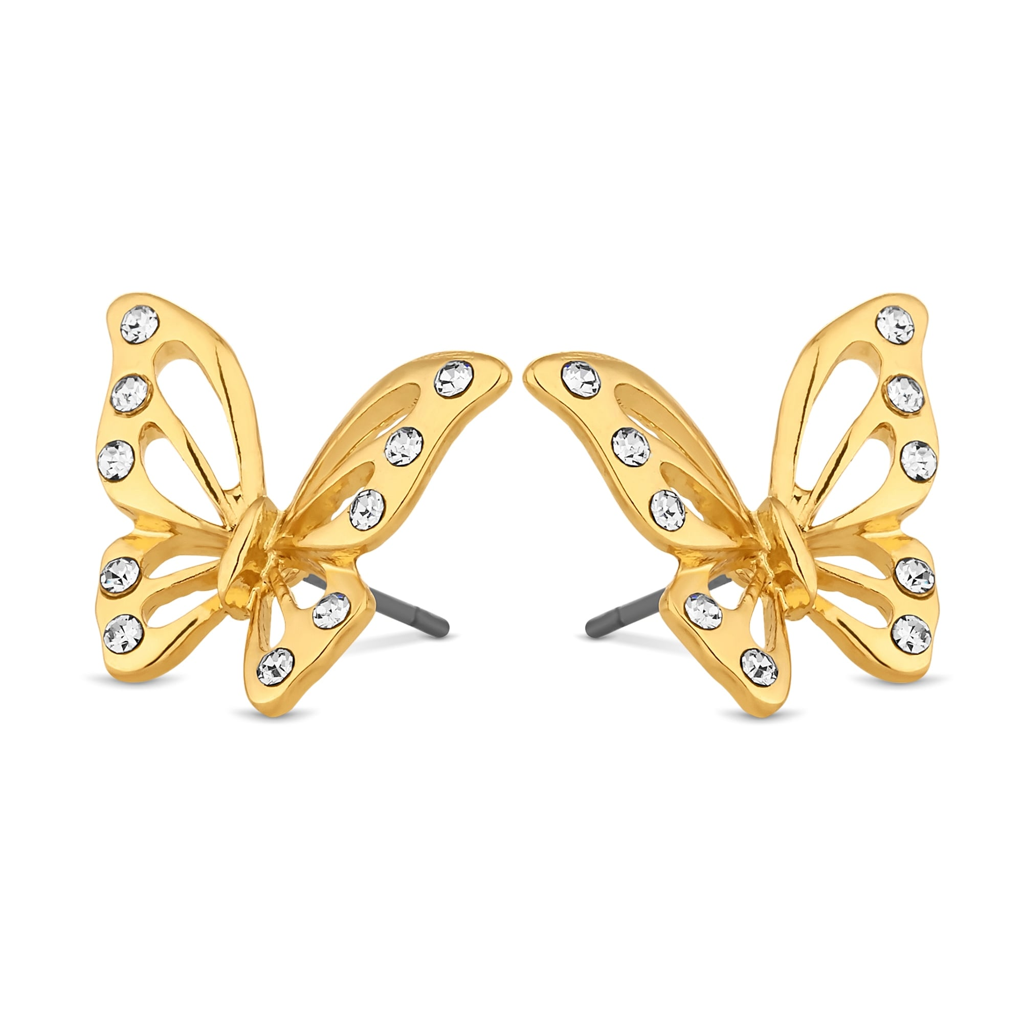 earrings cz yellow small gold butterfly stud products x