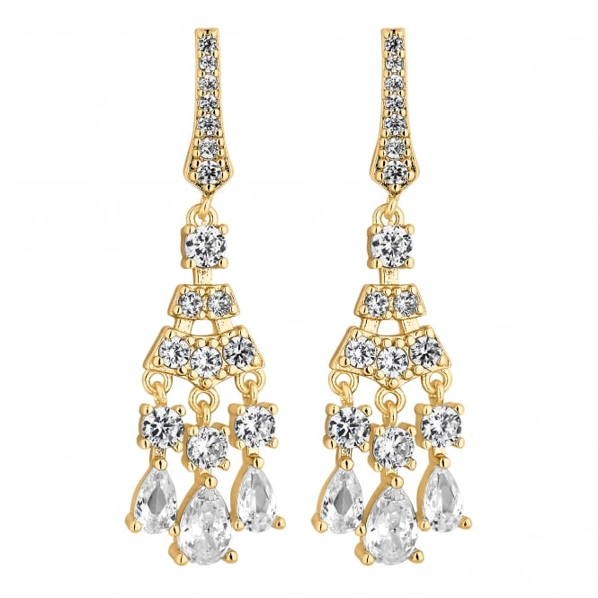 Gold Plated Crystal Chandelier Drop Earring