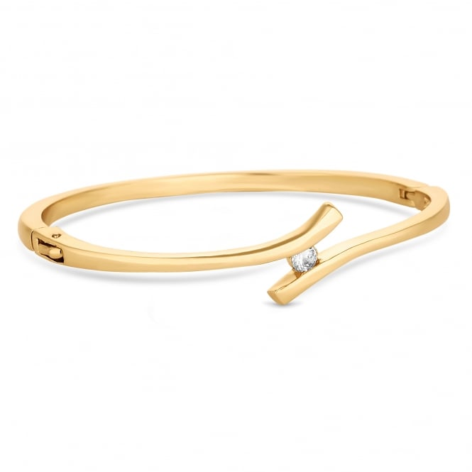 Gold Plated Crystal Cross Over Bangle