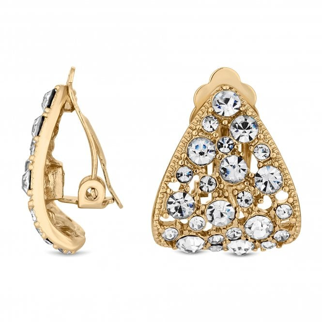 Gold Plated Crystal Curved Half Hoop Clip On Earring