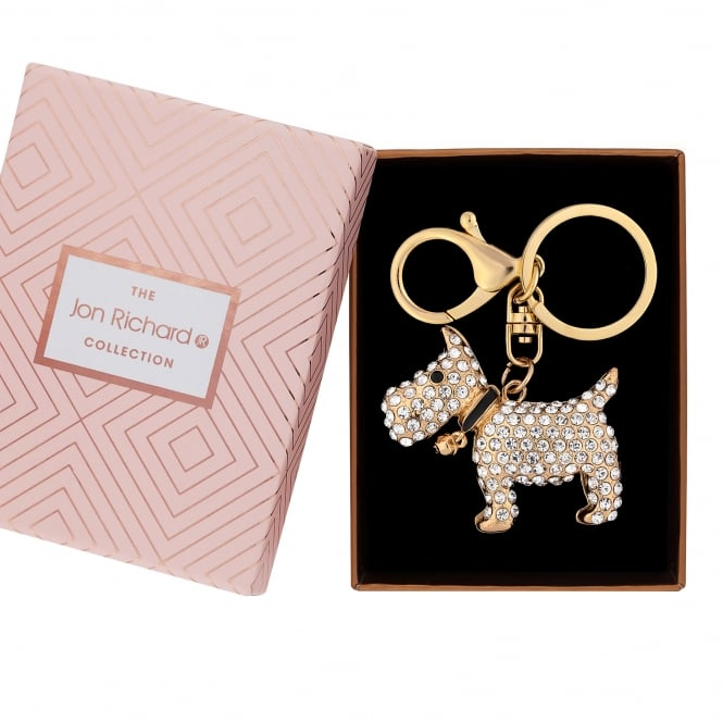 Jon Richard Gold Plated Crystal Dog Keyring In A Gift Box