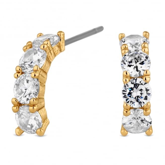 Gold Plated Crystal Half Hoop Earring