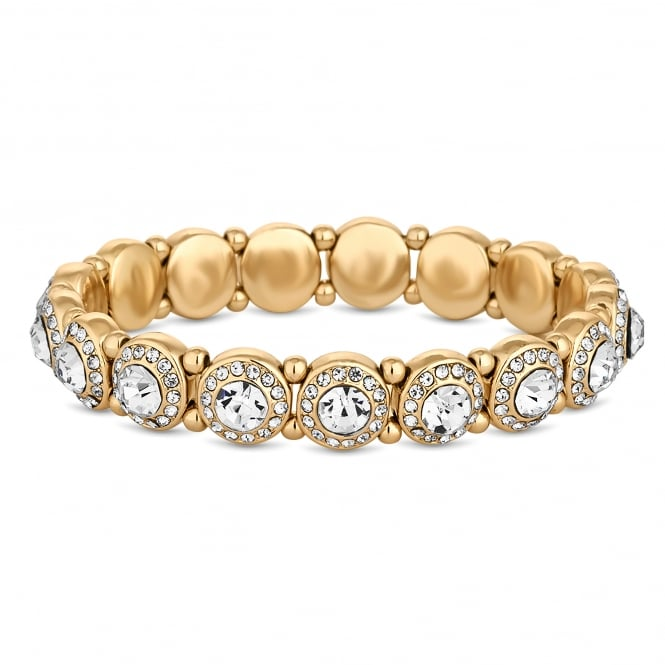 Gold Plated Crystal Halo Stretch Bracelet