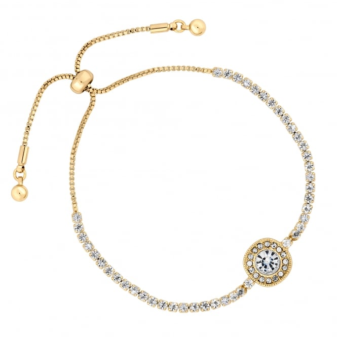 Gold Plated Crystal Halo Toggle Bracelet