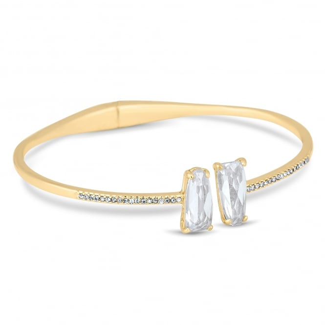 Gold Plated Crystal Hinged Cuff Bangle
