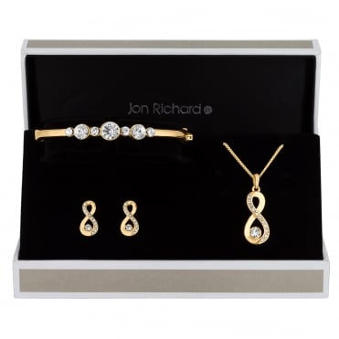 Gold Plated Crystal Infinity Trio Jewellery Set In A Gift Box