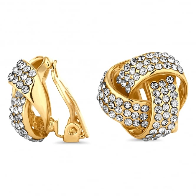 Gold Plated Crystal Knot Clip On Stud Earring