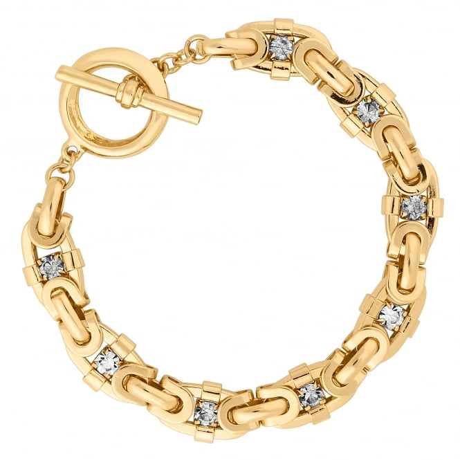 Gold Plated Crystal Link Bracelet