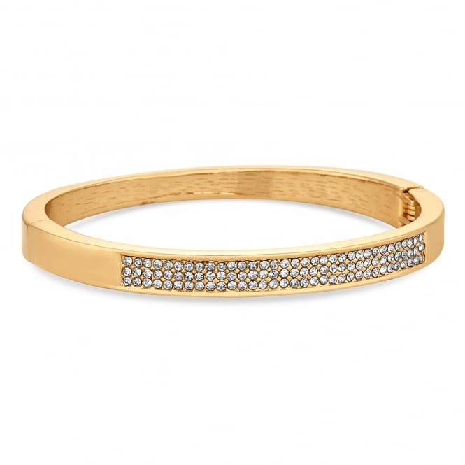 Gold Plated Crystal Pave Bangle