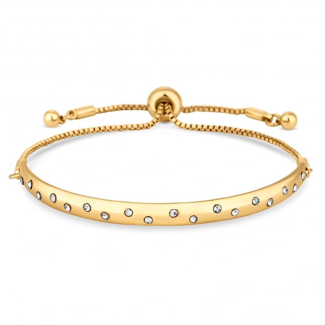 Gold Plated Crystal Pave Bar Toggle Bracelet