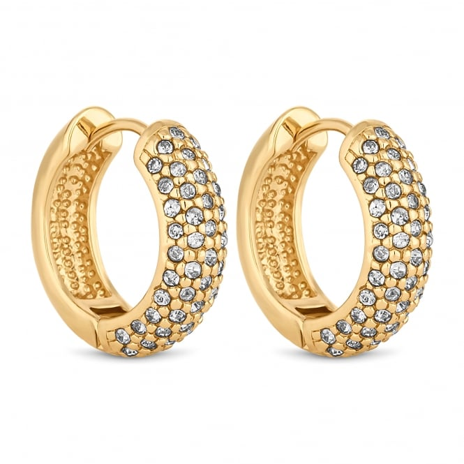 Gold Plated Crystal Pave Hoop Earring