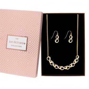 Gold Plated Crystal Pave Infinity Link Jewellery Set In A Gift Box