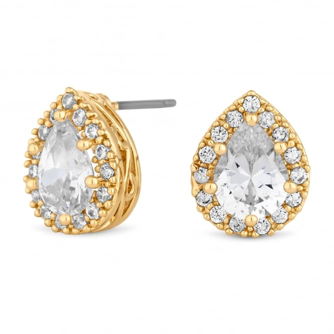 Gold Plated Crystal Peardrop Halo Stud Earring