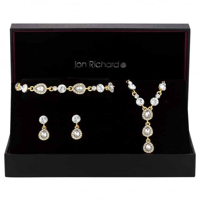 Gold Plated Crystal Peardrop Jewellery Set In A Gift Box