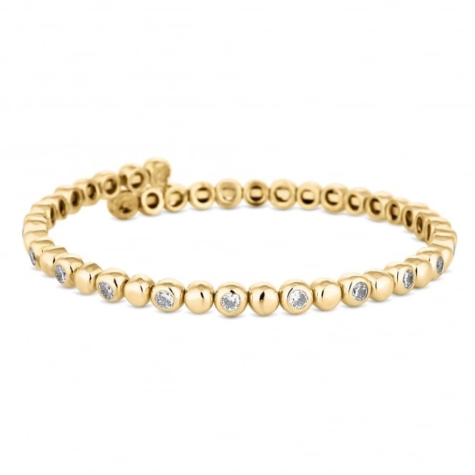 Gold Plated Crystal Tennis Coil Stretch Bracelet