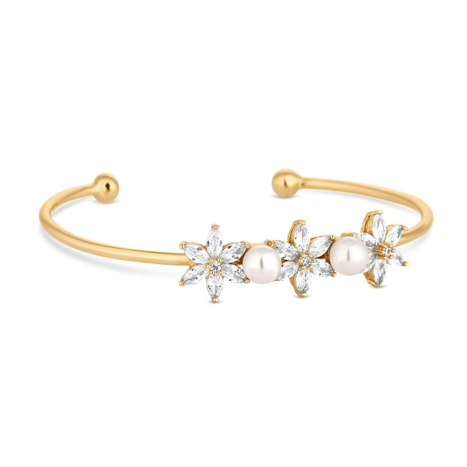 Gold Plated Cubic Zirconia And Pearl Flower Cuff Bangle