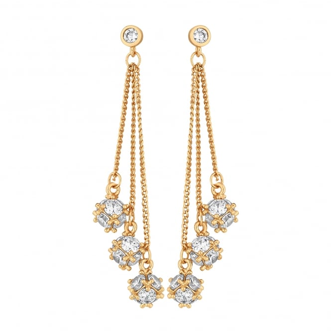 Gold Plated Cubic Zirconia Chain Drop Earring