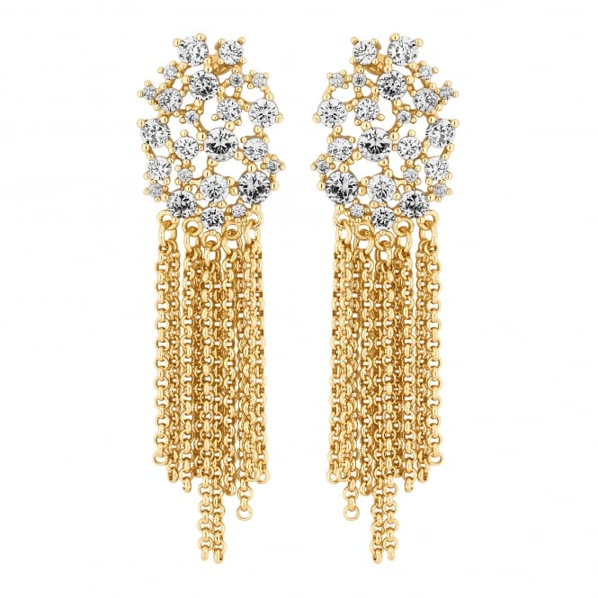Gold Plated Cubic Zirconia Cluster Chain Drop Earring