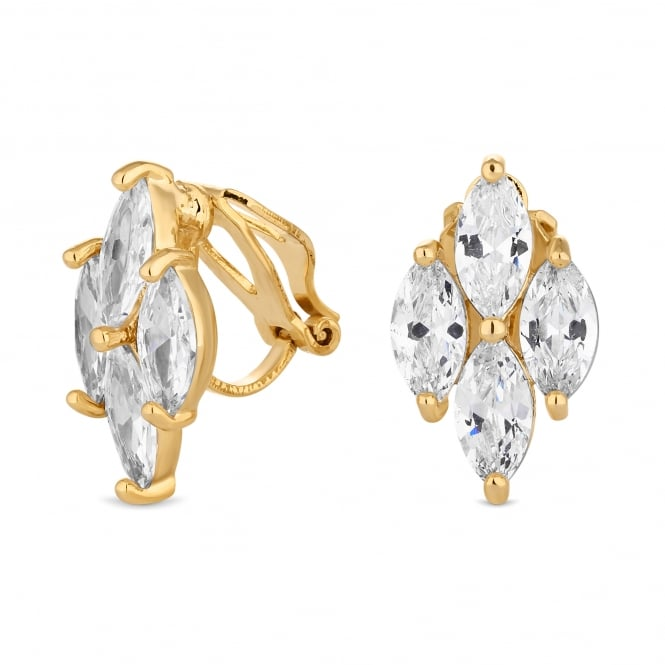 Gold Plated Cubic Zirconia Cluster Clip On Earring