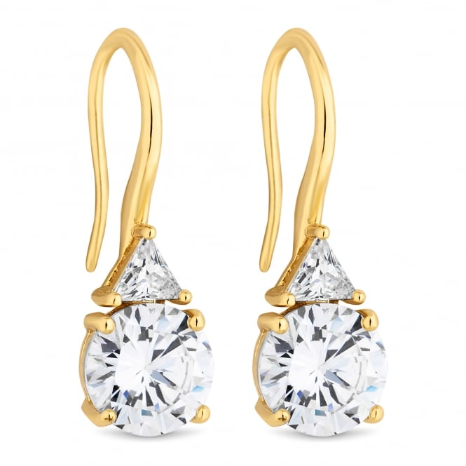 Gold Plated Cubic Zirconia Drop Hook Earring