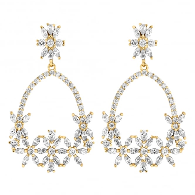 Gold Plated Cubic Zirconia Floral Open Hoop Earring