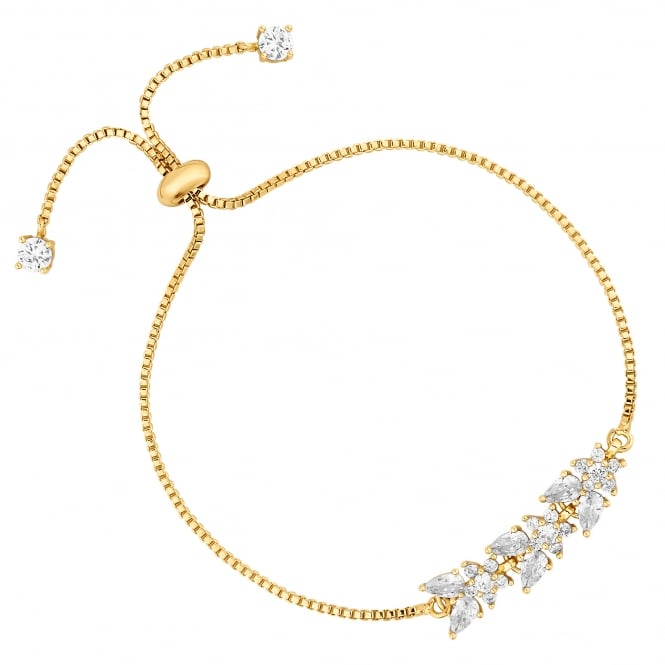 Gold Plated Cubic Zirconia Floral Toggle Bracelet