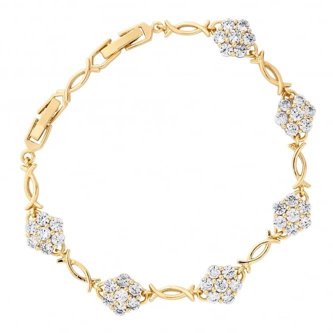 Gold Plated Cubic Zirconia Flower Link Bracelet
