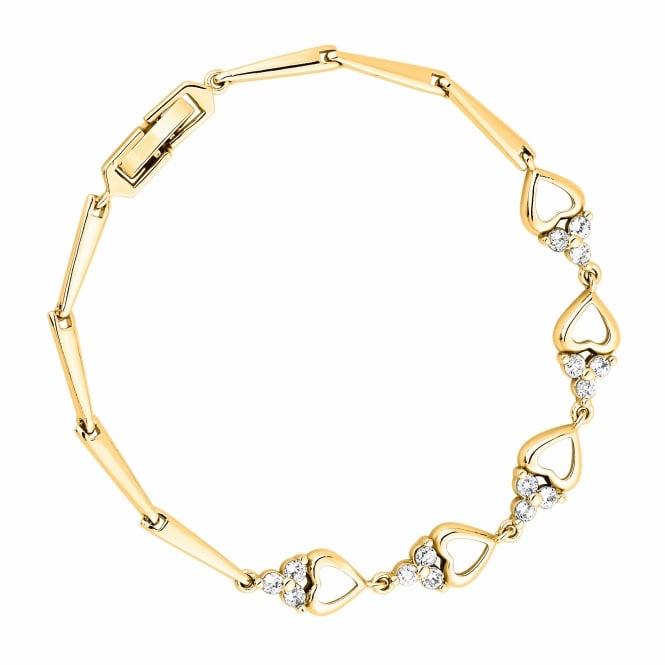 Gold Plated Cubic Zirconia Heart Bracelet