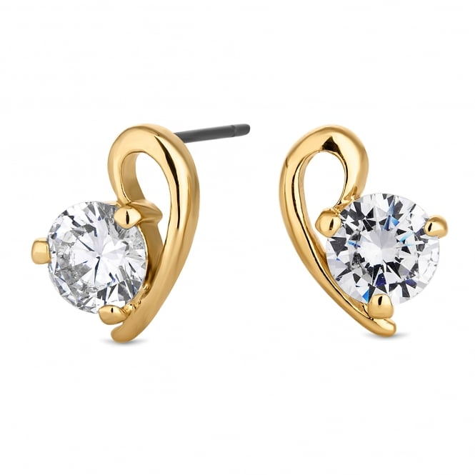 Gold Plated Cubic Zirconia Heart Stud Earring