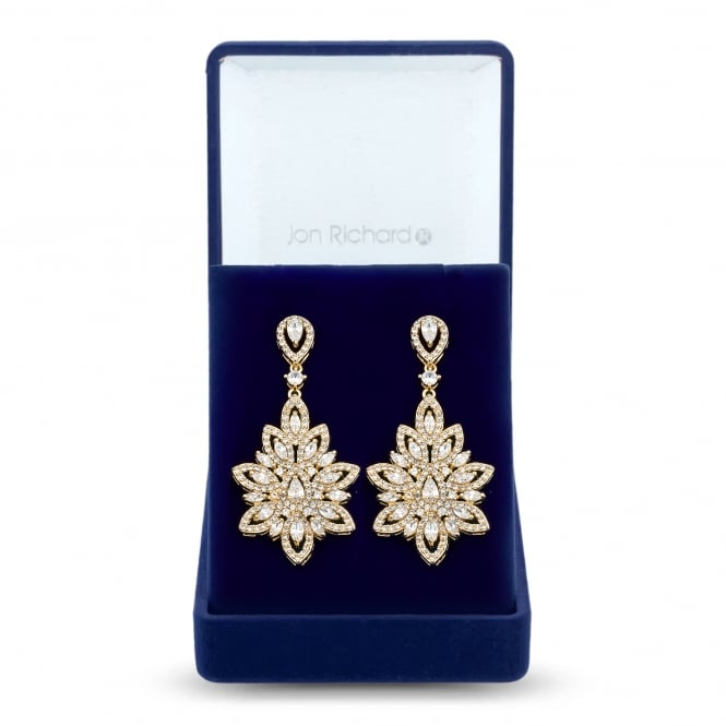 Jon Richard Gold Plated Cubic Zirconia Leaf Statement Earring In A Gift Box