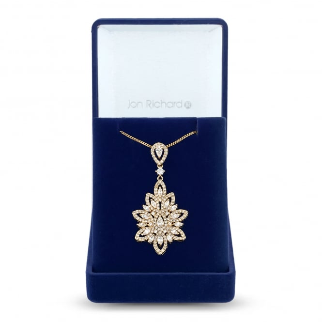 Jon Richard Gold Plated Cubic Zirconia Leaf Statement Necklace In A Gift Box