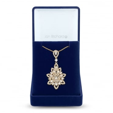 Gold Plated Cubic Zirconia Leaf Statement Necklace In A Gift Box