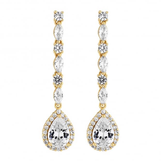 Gold Plated Cubic Zirconia Linear Pear Drop Earring