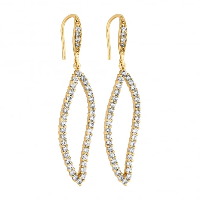 Gold Plated Cubic Zirconia Open Oval Drop Earring