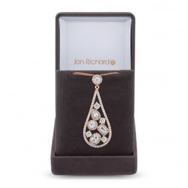 Gold Plated Cubic Zirconia Open Peardrop Necklace In A Gift Box
