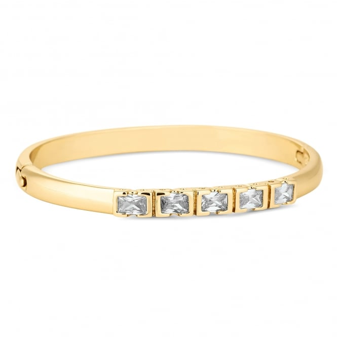 Jon Richard Gold Plated Cubic Zirconia Square Encased Bar Bangle