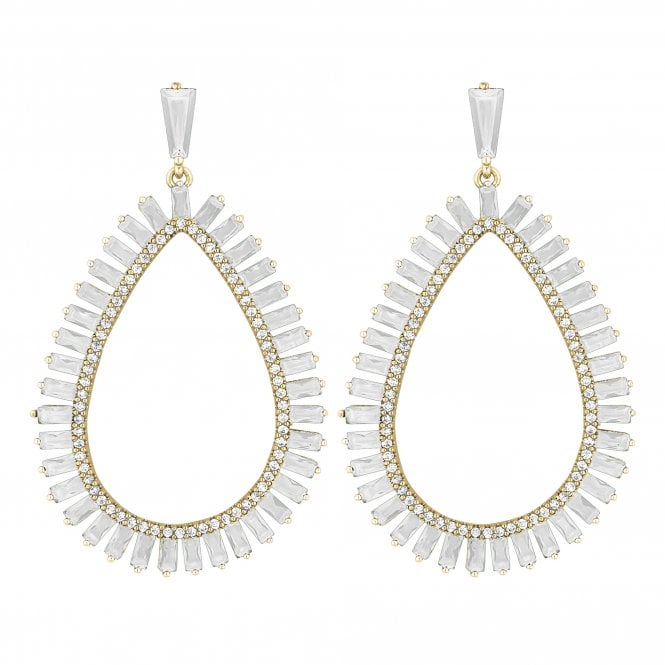 Gold Plated Cubic Zirconia Statement Peardrop Drop Earring