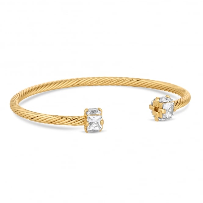 Jon Richard Gold Plated Cubic Zirconia Textured Cuff Bangle
