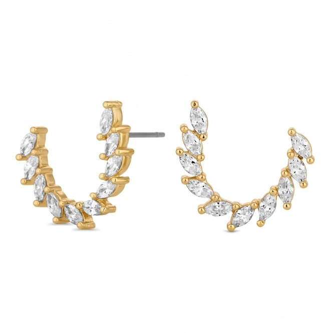 Gold Plated Curved Cubic Zirconia Half Hoop Earring
