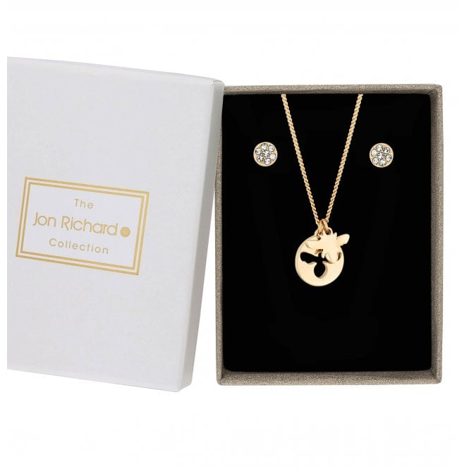 Gold Plated Cut Out Pave Disc With Bee Charm Necklace And Earring Set