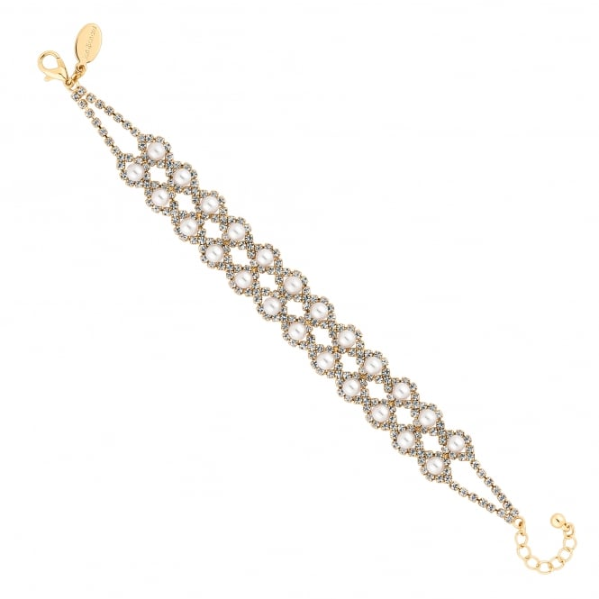 Gold Plated Diamante Crystal And Pearl Bracelet