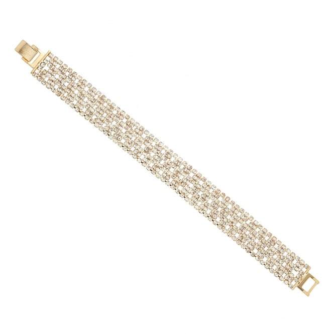 Gold Plated Diamante Crystal Fine Stone Wide Gold Bracelet
