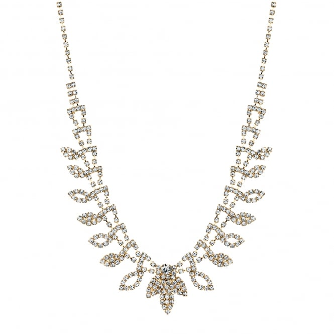 Gold Plated Diamante Crystal Leaf Necklace