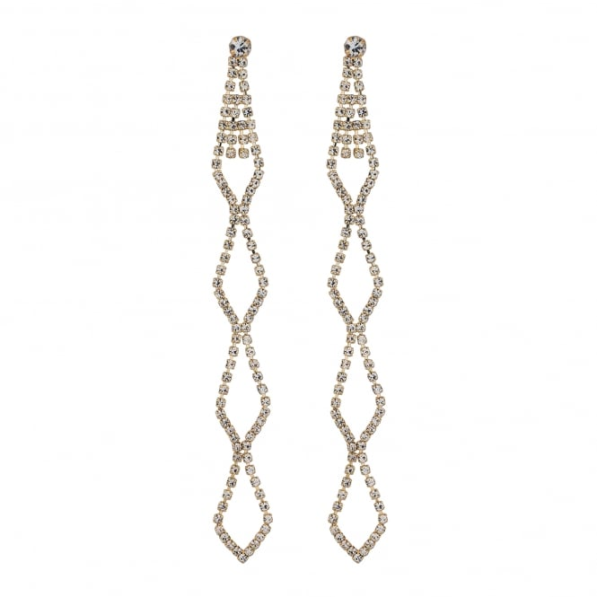 Gold Plated Diamante Cut Out Long Drop Earring