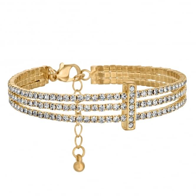Gold Plated Diamante Triple Row Bracelet