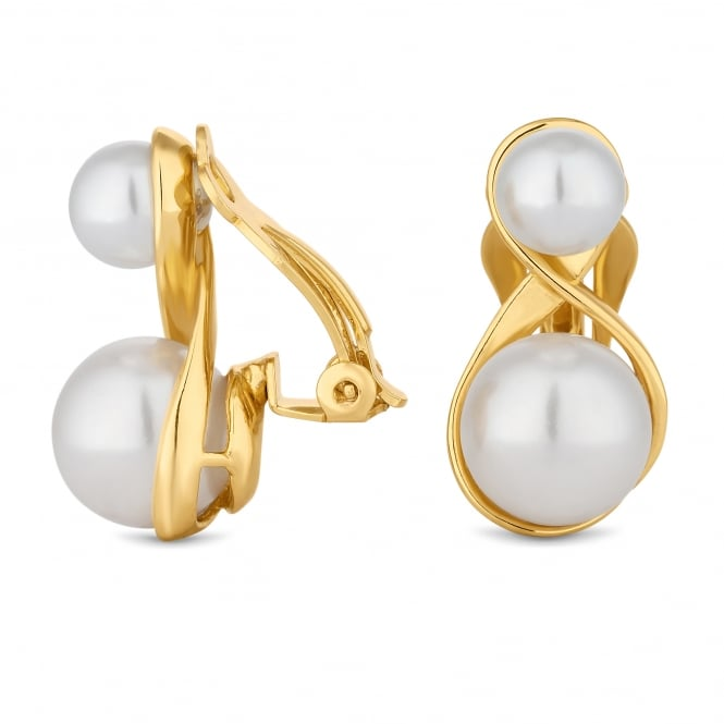Gold Plated Double Pearl Drop Clip On Earring