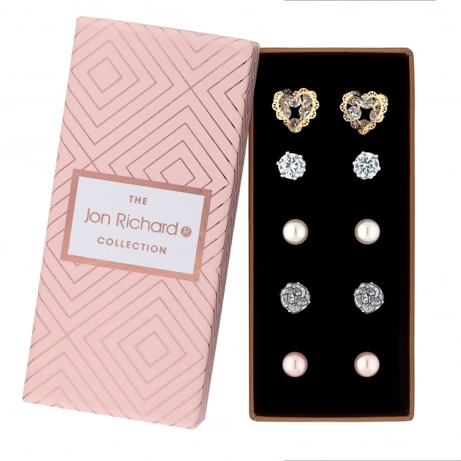 Jon Richard Gold Plated Filigree Crystal And Pearl Stud Earring Set In A Gift Box - Pack of 5