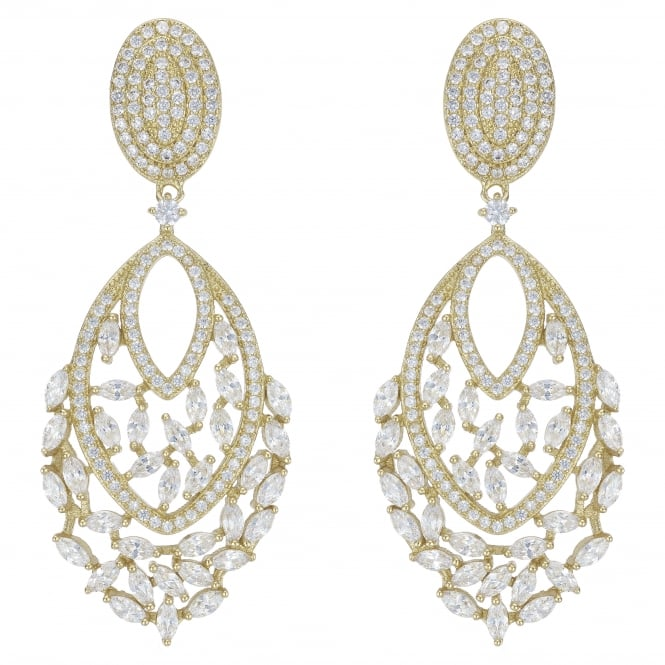 Gold Plated Filigree Statement Drop Earring