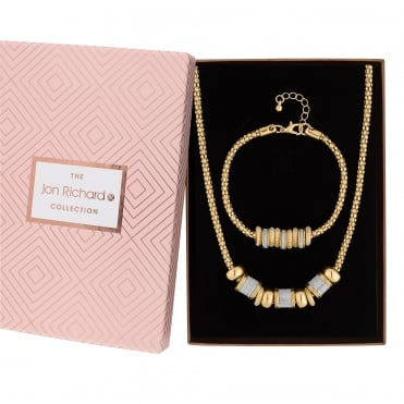 Gold Plated Glitter Charm Jewellery Set In A Gift Box